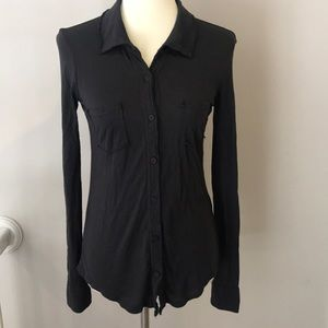 NWOT Michael Stars Dark Charcoal Button Down Top